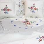 Cross Stitch Roses bedding ensemble