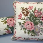 Woolen Needlepoint Roses and Ribbons cushion cover