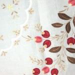 Appliqué cherries on fine cotton organdy