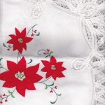 Classic Red Poinsettia appliqué on pure white cotton fabric with full Battenburg Lace edge is the crown jewel of festive setting this holiday season for a very affordable budget.