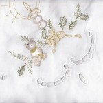 """Elegant & playful doilies & runners to accessorize modern homes in subtle tranquility. Pure Cotton fibre. Holly Bear is apropos for the entire festive season. Feature size: 36""""square $9.95"""