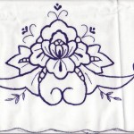 An old time favourite- Regal peony- in Royal Blue colour of Cutwork Embroidery on Natural Fibre Cotton Rich pillow cases. Navy Blue colour Embroidery on White. Queen size.