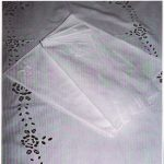 Broderie Anglaise White work embroidery Cotton tablecloth.