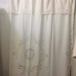 Cotton Cutwork Rose White Work Embroidered Shower Curtain.