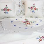 Cross Stitch Roses bedding ensemble