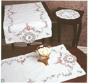 Cross Stitch Royal Albert doilies and runners- white
