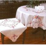Cross Stitch Royal Albert tablecloth- white