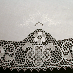Reticella Lace tablecloth with hand embroidered details