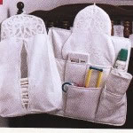 Beautifully crafted Battenburg Lace Baby Diaper Stacker and Crib Organizer...functional and pretty.