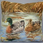 Woolen Needlepoint fine petitpoint Mallard Ducks in a pond cushion cover