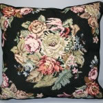 Woolen Needlepoint Old Roses cushion cover