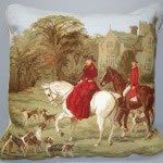 Petit Point Hunting Scene cushion cover