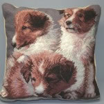 Needlepoint 3 puppies cushion cover