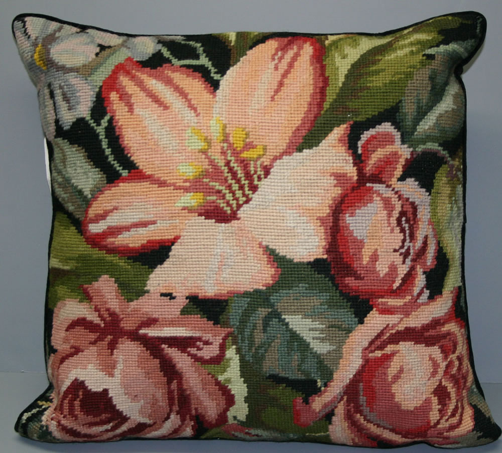 Woolen Needlepoint Lily and Roses cushion cover U34