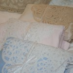 Elite Battenburg Lace Bedsheet set available in Ecru, White, Pink or Blue -Queen size. Set includes pillow cases of premium quality cotton. Half price sale $75.00. An ideal wedding gift.
