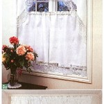 Hand knotted Tuscany Lace -classic Rose-in natural fibre white quality cotton Valances/café panels..
