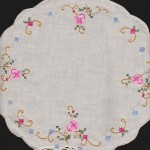 Morning Glory doily is hand appliqué with Cross Stitched accents. Available in round doilies or runners. Ecru or White