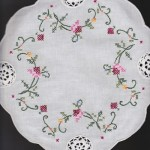 Royal Albert design with Crochet Lace insertions in a cheerful Round doily.