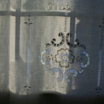 Linen hand hemstitched French door panel or window covering