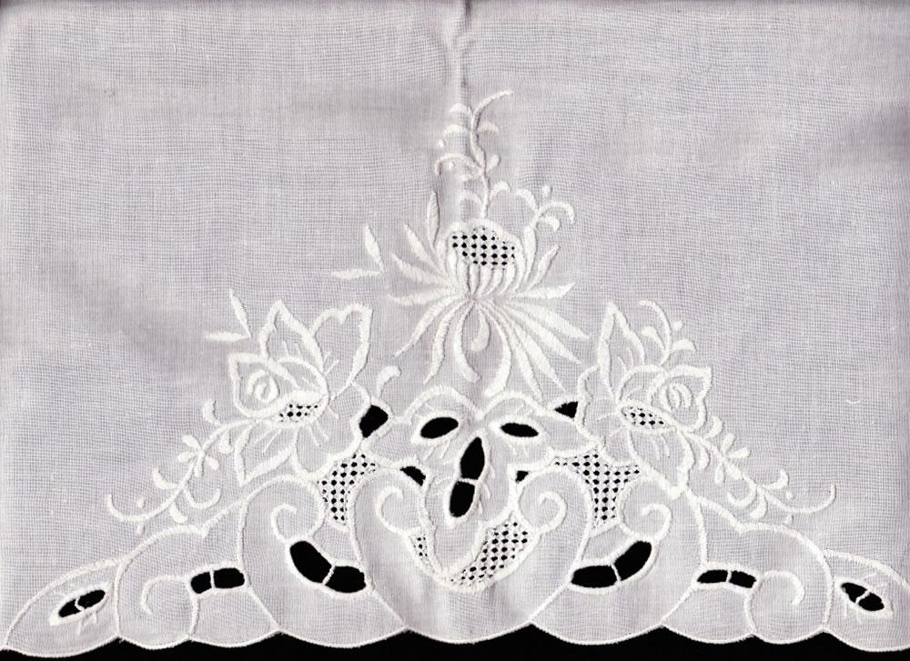 White flower garden embroidered cotton pillow cases queen