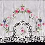 Cross Stitched full Crochet Lace edged cotton pillow case