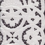 Creative design of Lotus in a Pond of natural fibre Linen Cutwork embroidery.