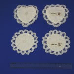 Battenburg Lace Tooth Fairy pouches in heart shaped or round shaped.