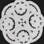 Linen Cutwork Lotus in a Pond round doily.