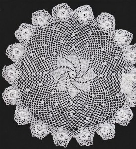 Hand Crocheted doily in very fine ccotton thread-Pinwheel