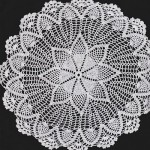Hand Crochet Lace doily in very fine white cotton thread