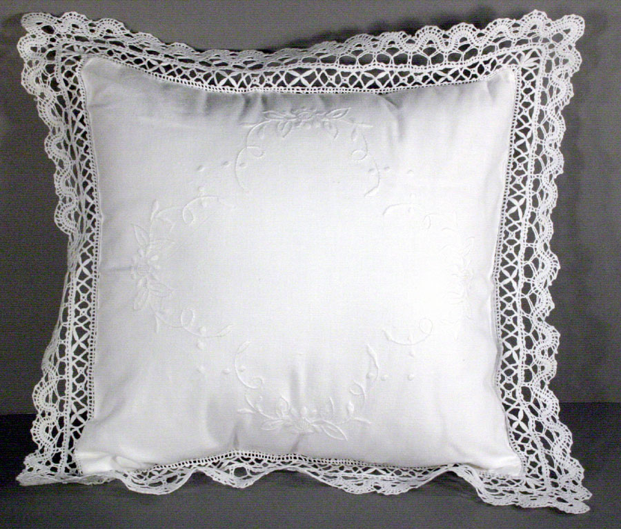 Cluny Lace Cushion Cover Diy Wedding Ring Bearer Pillow Accented With Hand Embroidered Daisies
