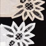 Cotton Battenburg Sunflower dinner napkin- White or Ecru