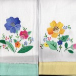 Hostess Gifts- Applique Guest Towel with Hand Hem-Stitched application of colour border edge- Green or Yellow colour border