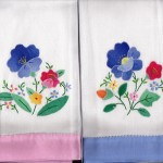 Hostess Gifts- Applique Guest Towel with Hand Hem-Stitched application of colour border edge- Pink or Blue colour border