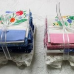 Hostess Gift- Hand Appliqué Guest Towels pre-bundled special. Colour coordinated pre-arranged in Blue-Pink-Yellow-Green. Buy more Save more option available.