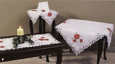 Elegant Christmas Tablecloth With Applique Red Poinsettias And Battenburg  Lace Fully Edged. Premium Quality Pure