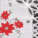 Batten Appliqué Poinsettia place setting or tray cloth on premium quality cotton