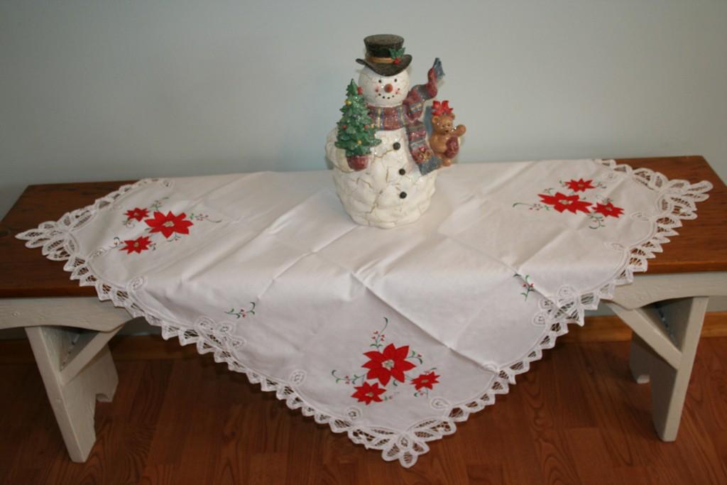 Battenburg Lace Pure Cotton Poinsettia Tablecloth