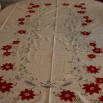 Classic Red Poinsettia appliqué on pure white cotton fabric with Battenburg Lace is the crown jewel of large size table setting this holiday season for a very affordable budget.