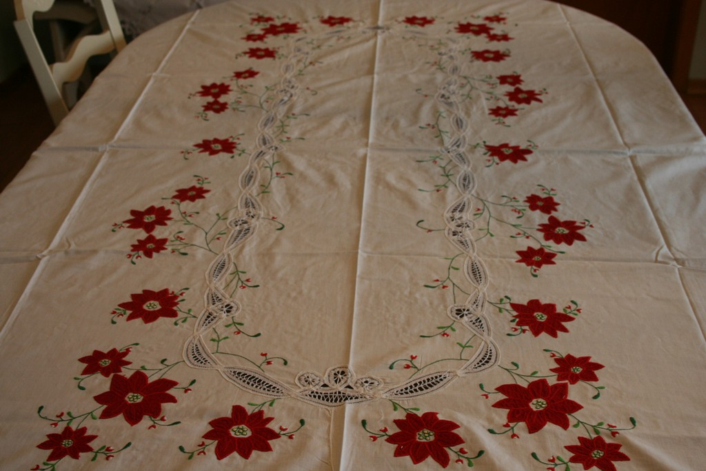 Bon Classic Red Poinsettia Appliqué On Pure White Cotton Fabric With Battenburg  Lace Is The Crown Jewel