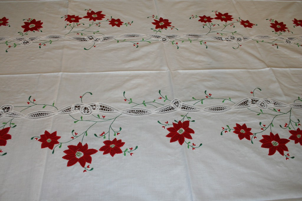 Classic Red Poinsettia Appliqué On Pure White Cotton Fabric With Battenburg  Lace Is The Crown Jewel