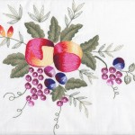 Harvest Fruit motif is tastefully designed, and embroidered. A very delightful alternative to the over-used sombre version of Thanksgiving tablecloths.