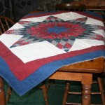 Lone Star Tartan throw- hand quilted on cotton flannel adds country charm during this festive season. Decorate as a wall hanging (with rod pocket) or table centre piece, or as a throw.