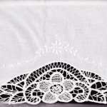 "Very Fancy Hand made French Ribbon Lace in a generous size of 20x30"" with a 2 inches tongue. White colour only."