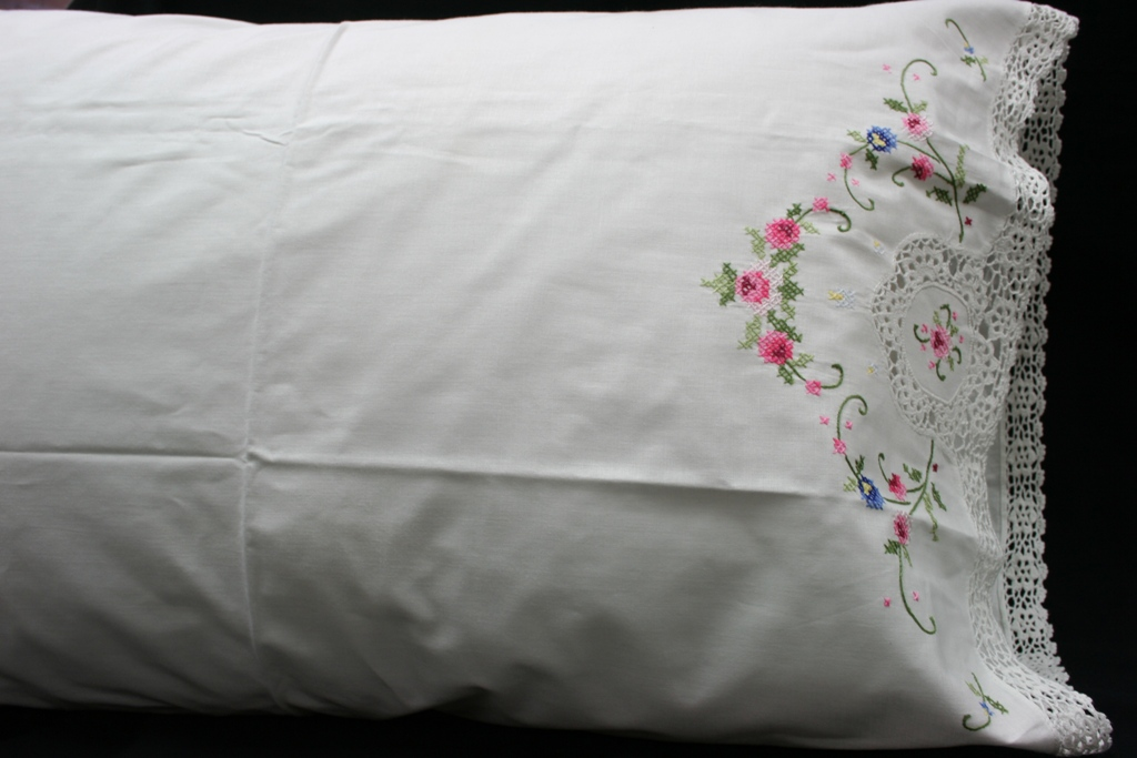 Crochet or Embroidered crisp white Cotton Pillow Case-on