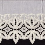 Polyester/Cotton blend Eyelet Lace all along the edge. Ecru Colour only. Queen size.