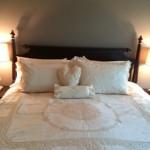 Elite Battenburg Lace Vintage Ecru colour Duvet Cover and matching pillow shams.