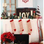 Red and White Applique Stocking add elegance to this eclectic mix.