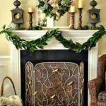 Embroidered Gold Bells & Candles with Green Boughs decor theme