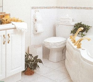 White and Beautiful Battenburg Lace Bathroom Decor and Accessories. 100% Cotton.